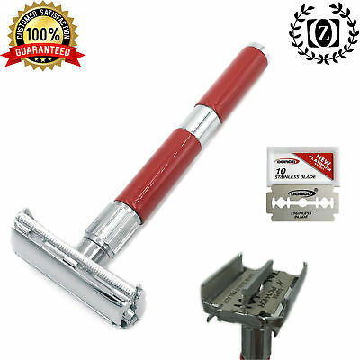 """4"""" Long Handle Butterfly Double Edge Safety Razor Rasoir for Men + Blades RED"""