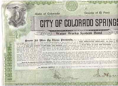 City of Colorado Springs Water Works System Bond 1903