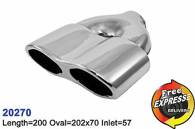 exhaust tailpipe s/steel universal dual tip trim for Mercedes Benz AMG 20270