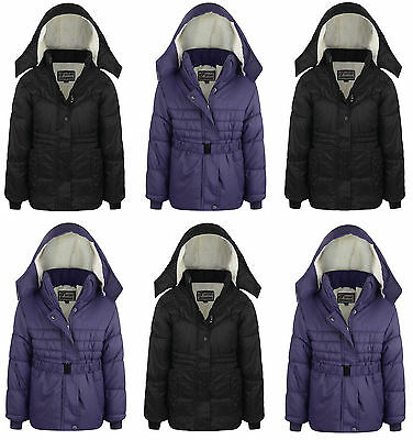 Girls School Hooded Puffer Padded Winter Waterproof Quilted Jacket Coat Warm