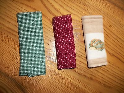 Longaberger Handle Grippers Lot of 3 Green Red Tan Sea Shell - EUC
