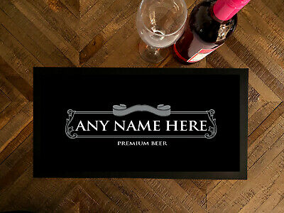 Personalised Silver beer label bar runner Bar Mat Pubs Clubs & Cocktail Bars