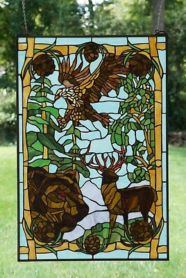 """24"""" x 36"""" Bear Eagle Deer Pine Cone Tiffany Style stained glass window panel"""