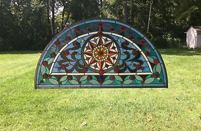 "Tiffany Style stained glass window Half Round Glass panel, 34""L x 18""H"