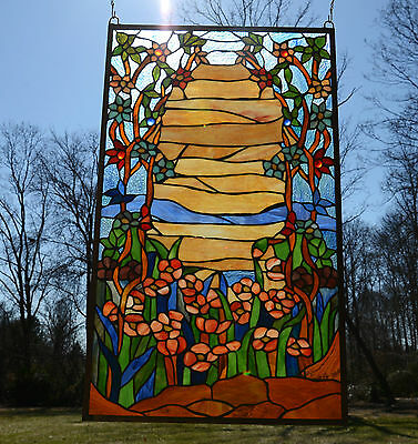 """20.75"""" x 34.50"""" Tiffany Style stained glass window panel Desert Dawn"""