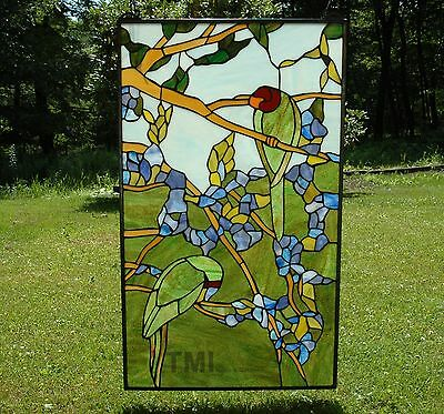 "20"" x 34"" Tiffany Style stained glass window panel 2 parrots birds"