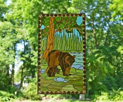 "20"" x 34"" Bear Mother and Son Tiffany Style stained glass window panel"