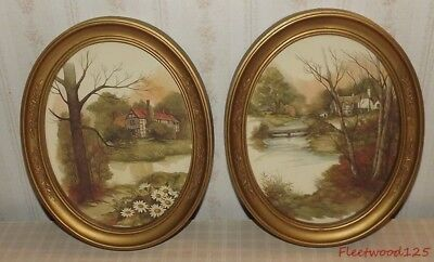 "2 Vintage 1983 Homco Decorative Oval Pictures Under Glass - 11"" x 9"""