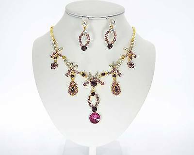 Luxus Set 2 Tlg Kollier Ohrringe Paris Vergoldet/violett Strass Schmuckset Braut