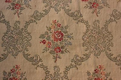 "Vintage French Floral Jacquard Textile Fabric Yardage c.1928~3yds18""LX23""W"