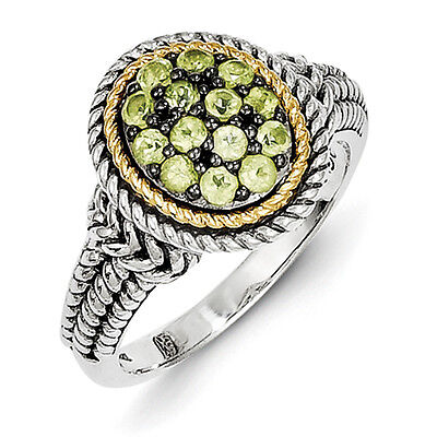 Peridot Heart Ring .925 Sterling Silver w// 14K Gold Accent Size 6-8 Shey Couture
