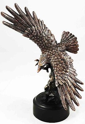 Flying American Bald Eagle Electroplated Figurine with Base Statue Home Decor