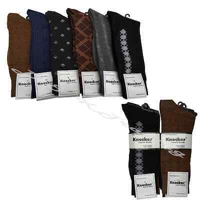 6 12 pairs Lot Knocker Men's Solid Assorted Print Design Dress Socks size 10-13
