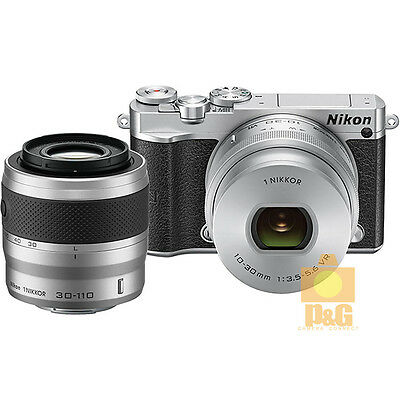 NEW BOXED NIKON J5 CAMERA + VR 10-30mm  PD-ZOOM + VR 30-110mm LENS KIT / SILVER