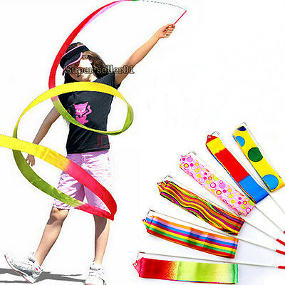 9Colours  Dance Ruban Gym rythmique Gymnastique Art Ballet Streamer Twirling Rod