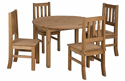 Mercers Furniture Corona Mexican Pine Large Drop Leaf Dining Table and 4 Chairs