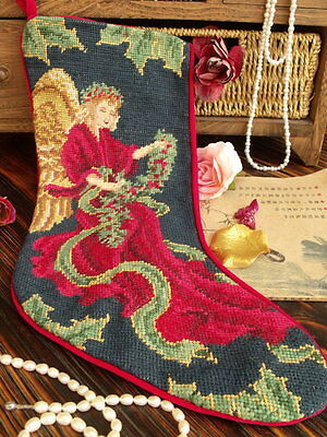 Vtg Completed Needlepoint Christmas Stocking GIFT~Fairy Angel Wreath Ribbon NEW