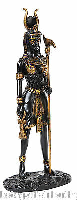 Hathor Ancient Egyptian Goddess of Love Beauty Statue Black Gold 12.75""