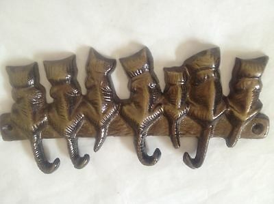 Vintage Solid Brass (4) Cat Key Hooks & 7 Cats Free Shipping