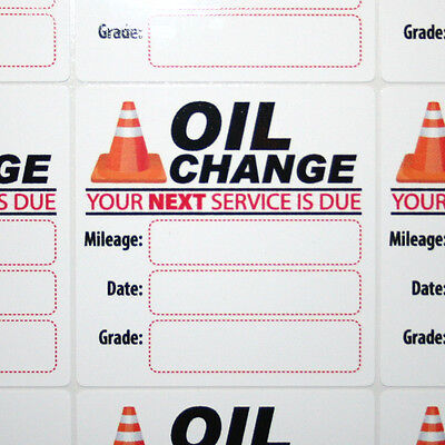 96 Generic Oil Change Service Reminder Stickers, High Quality White Static Cling
