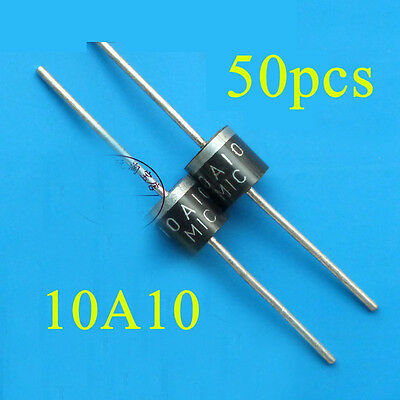 50pcs 10A10 10 Amp 1000V 10A 1KV Axial Rectifier Diode MIC