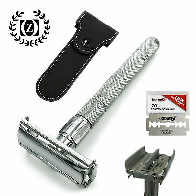"""4"""" Long Handle Double Edge Butterfly Safety Razor For Him with 5 Blades + Pouch"""