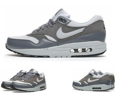 Mens Nike Air Max 1 Essential Grey Leather Trainers Size UK - 8.5 New 537383 019