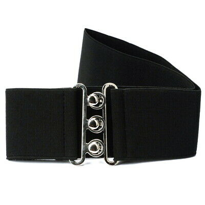 FAN - Fashion Cinch Buckle Women 2 Inch Wide Stretch Elastic Waist Belt Black US