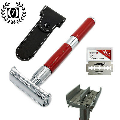 Long Handle Double Edge Safety Razor For Men's Shaving With Blades + Pouch
