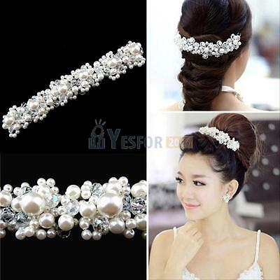 Bridal Bride Wedding Faux Pearl Crystal Rhinestone Flower Hair Clip Comb Pin New