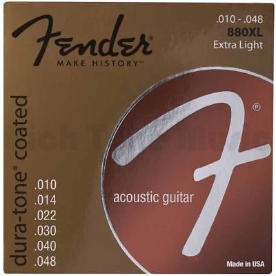 Fender Dura-Tone Coated 80/20 Acoustic Guitar Strings 880XL - .10-.48