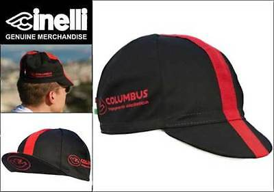 CINELLI COLUMBUS BLACK/RED CYCLING BIKE CAP Vintage-Fixed Gear-Made in Italy