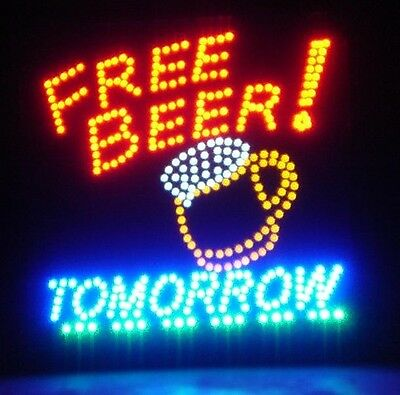 """Large """"FREE Beer Tomorrow"""" LED Neon Light Sign *Motion* Home Bar Man Cave"""