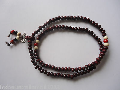 Brown Buddhist Necklace 108 6mm Beads Mala Necklace with Spacers(BJEW-R281-50)