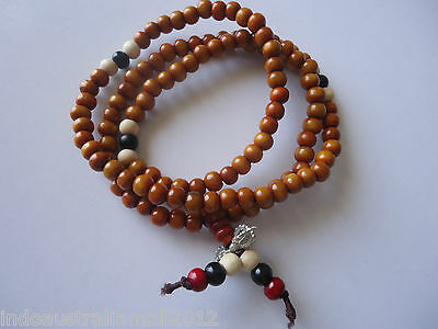 Light Brown Sandalwood Rosary Mala 8mm108 Beads  Necklace with Spacers(PB046)