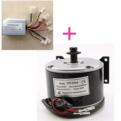 MY1016 24V 250W Electric Motor + Speed Controller for Electric Scooters Bicycle