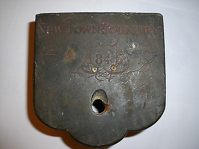 Antique lock case Heavy brass 1845 Newtown Foundry Wales Welsh Door furniture