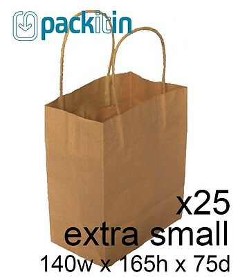 x25 EXTRA SMALL KRAFT paper gift CARRY tote party BAGS with handles (140x165mm)