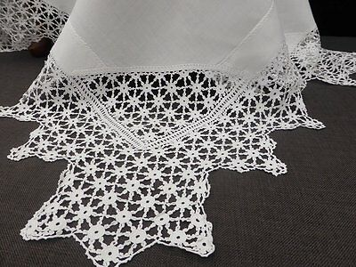 Antique White Linen Tablecloth-Fabulous Deep Hand Crochet Lace