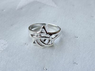 Triquetra Celtic Knot Goddess Charmed Toe Ring Wicca Pagan 925 Sterling Silver