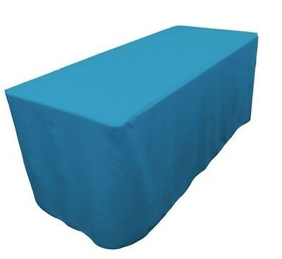 8' ft. Fitted Polyester Table Cover Trade Show Event Tablecloth Turquoise Blue