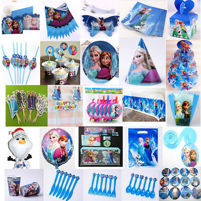 FROZEN Birthday Party Decoration Tableware Napkins Gift Bag Banner Hats Cup Fork