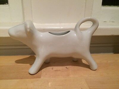 White Porcelain Cordon Blue Figural Cow Creamer Pitcher - Dishwasher Safe