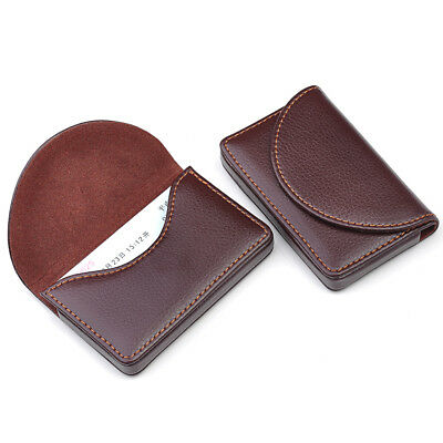 Chic Stainless Steel New Hot Pocket Brown Leather Name Business Card Case Holder