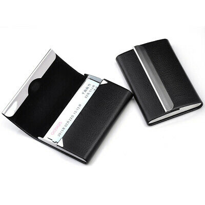 Black New PU Leather Business Credit Card Name Id Card Holder Case Wallet Box