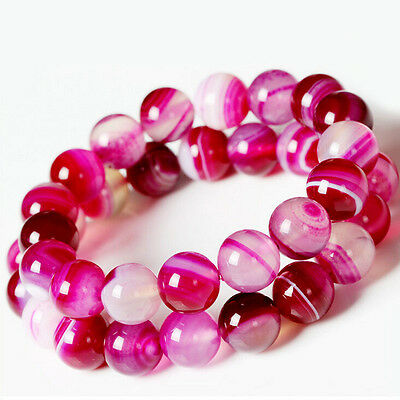 Natural Pink Striped Agate Round Gemstone Loose Spacer Charm Beads 4/6/8/10/12MM