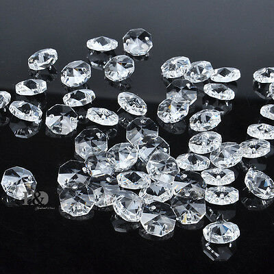 100X Sparkly 14mm Crystal Facet 2 Holes Loose Octagon Glass Bead Chandelier Part