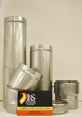 Solid Stainless Steel Flue Pipe for Gas, Wood & Multifuel Stoves-Various Sizes