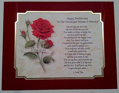 25TH WEDDING ANNIVERSARY Gift Love Poem For Wife/Husband