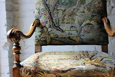 Antique Louis XIV Style Gros-Point Upholstered Open Armchair; Auchterool House